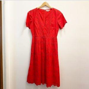 Madewell || Scalloped Eyelet Midi Dress